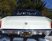 JUST MARRIED hat and veil wedding decal - custom getaway car