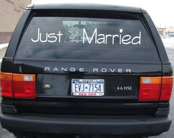 JUST MARRIED cartoon vows wedding decal - custom getaway car