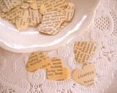 Pride & Prejudice Heart Confetti / 500 Pieces / Wedding Decor / Vintage Confetti / Wedding Confetti