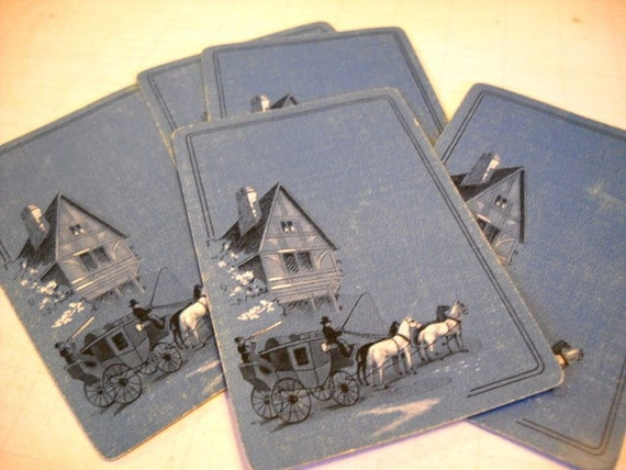 Charming Set of Vintage Playing Cards - Old Time Country Blue Stagecoach
