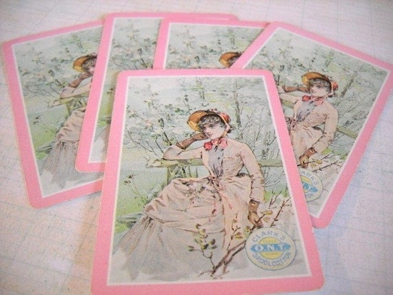 Charming Set of Vintage Playing Cards - Victorian Lady Clark's Spool Cotton - Pink