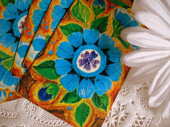 Charming Set of Vintage Playing Cards - Bright Blue Retro Funky Floral
