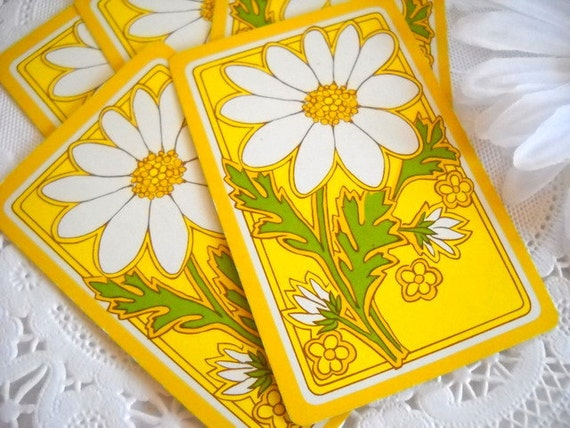 Charming Set of Vintage Playing Cards - Big Bold Yellow Daisies