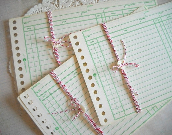 Charming Bundle Set of Green Lined Vintage Ledger Accounting Pages
