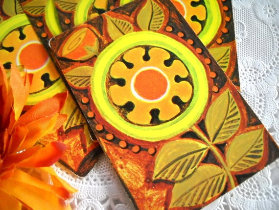 Charming Set of Vintage Playing Cards - Bright Yellow Retro Funky Floral