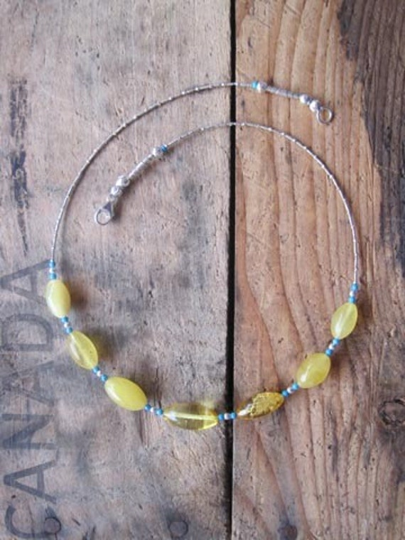 Amber, Turquoise, Silver, Necklace