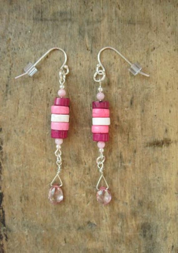 Pink Topaz, Stacked Magnesite, Silver Earrings