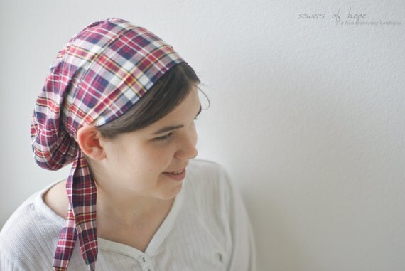 Snood Headcovering Hair Prayer Covering Veil Red Checkers