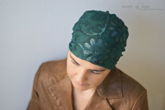 Deep Green Burnt Velvet Tichel Headcovering Head Cover Headscarf Scarf