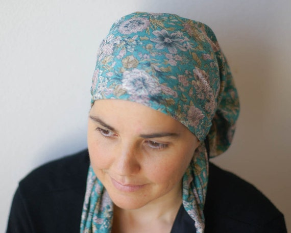 soft teal floral scarf israeli tichel headcovering by