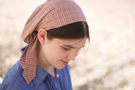 Brown and Marron Stripes Snood -- Headcovering for Women Teen and Girls -- Vintage Like