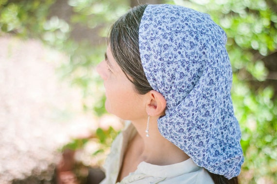 ONLY 1 LEFT and then it will be DISCONTINUED -- 30 % off --  Long Prayer Veil  Headcovering Head Cover Blue Floral