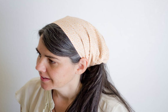 Hairband Convertible Extra Wide Headcovering -- Tangerine Ferns