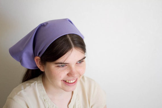 Hand Embroidered Cheery Pastel Purple Kerchief Bandanaa Headcovering Hair Covering