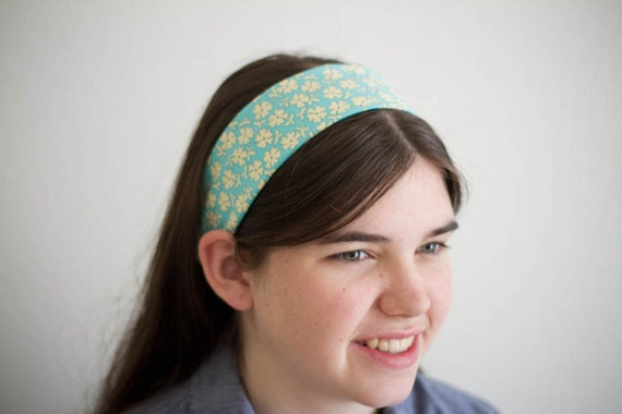 Teal Floral Headband -- Lightweight Cotton Headcovering -- Head Band Hairband for Women Girls and Teens