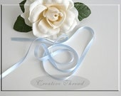 "Pure Silk Ribbon - Double Faced, Double Sided Silk Satin Ribbon - Soft Baby Blue - 1/4"" Wide"