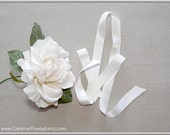 "Pure Silk Satin Ribbon -  Double Faced - Double Sided - Silk Satin Ribbon - White - 5/8"" Wide"