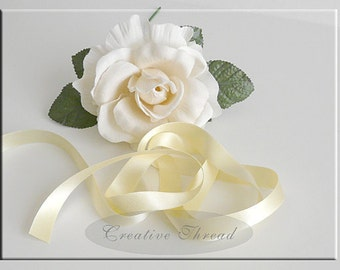 """Pure Silk Satin Ribbon -  Double Faced, Double Sided Silk Satin Ribbon - Soft Buttery Yellow - 5/8"""" Wide"""