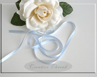 """Pure Silk Ribbon - Double Faced, Double Sided Silk Satin Ribbon - Soft Baby Blue - 1/4"""" Wide"""