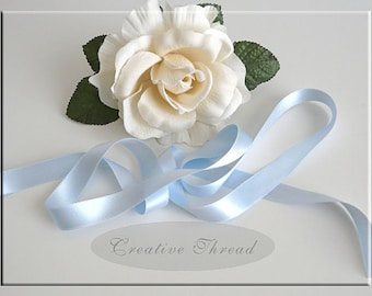 "Double Faced, Double Sided Silk Satin Ribbon - Pure Silk Ribbon - Soft Baby Blue - 5/8"" Wide"