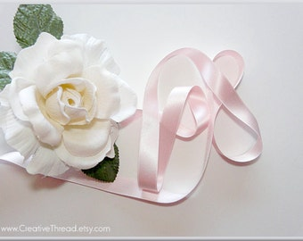 """Pure Silk Satin Ribbon -  Double Faced - Double Sided - Silk Satin Ribbon - Pastel Baby Pink - 5/8"""" Wide"""