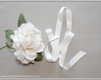 """Pure Silk Satin Ribbon -  Double Faced - Double Sided - Silk Satin Ribbon - White - 5/8"""" Wide"""
