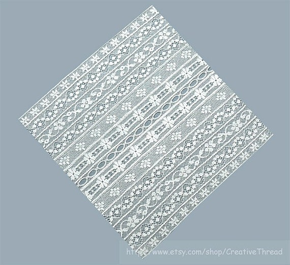 White Cotton Lace - Fancy Band  Lace Squares  (LS 101)  for Heirloom Sewing, Applique, Quilting, Bridal, Crafts