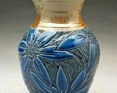 Blue and Copper Vase with Carved Flower Design