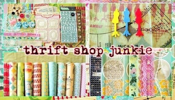 thrift shop junkie scrapbook kit