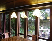 Copper and Paper Chandelier Lighting - Three Shade Camellia Pendant Chandelier with Long Rectangular Copper Ceiling Canopy