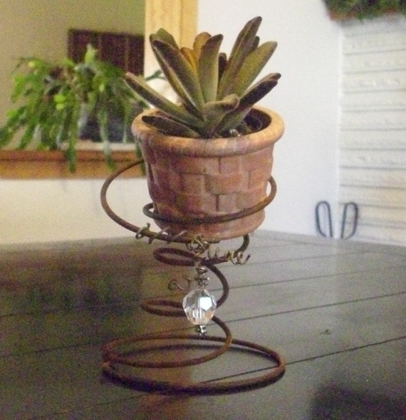 Vintage Rusty Bed Spring Candle/Plant Holder