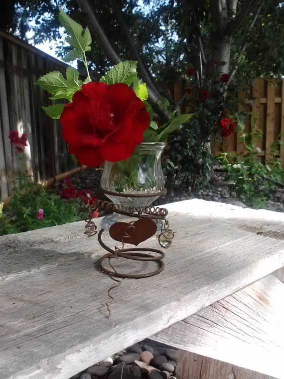 Vintage Rusty Bed Spring & Ice Cream Dish Votive/Planter