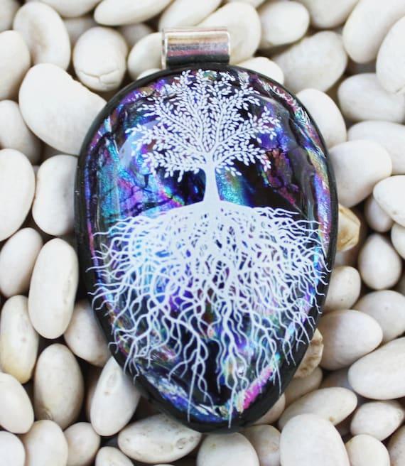 Dichroic Pendant Black, Turquoise, Purple,blueTree of Life Beautiful Necklace 082111/160