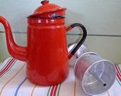CIJ sale Vintage Candy Apple Red Enamel Teapot With Bonus Metal Percolator
