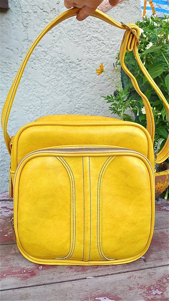 Vinyl Overnight Bag In Sunflower Yellow Great Carry - On Travel  Aviator Tote