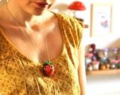 The Strawberry Felt Necklace