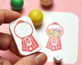 Candy machine hand carved rubber stamps bubblegum