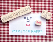Make you happy, hand carved rubber stamps set
