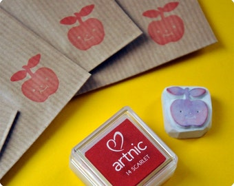 Christmas special hand carved rubber stamp apple