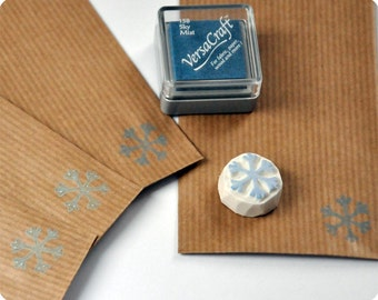 Christmas special hand carved rubber stamp snowflake