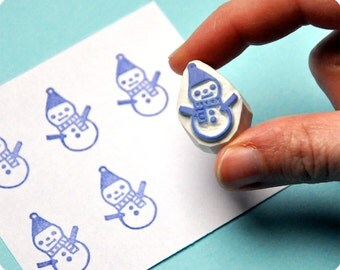 Little Snowman hand carved rubber stamp