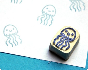 Jellyfish - Special Summer hand carved rubber stamps