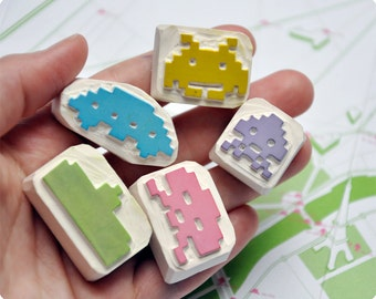 Space invaders hand carved stamp set of 5