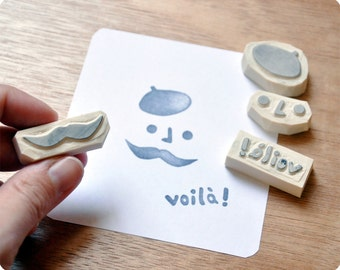 French Touch Mustache hand carved rubber stamp set voila