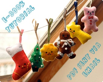 Xmas felt ornaments easy to make tutorial - with 6 patterns