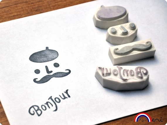 French Touch Mustache hand carved rubber stamp set bonjour