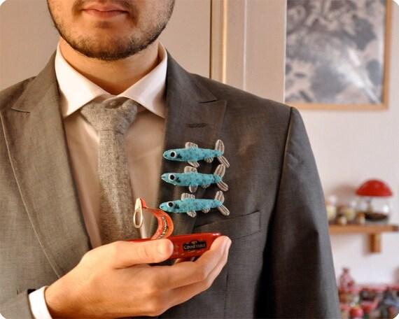 Weird gift for him Felt herrings brooches