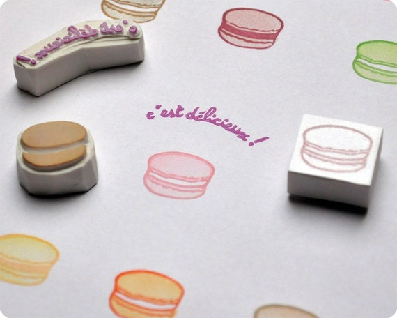 Parisian lifestyle stamp. Macarons hand carved rubber stamp set. Handmade stamps. Rubber stamp. Handcarved Stamps.