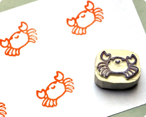 Lovely crab - Special Summer hand carved rubber stamps
