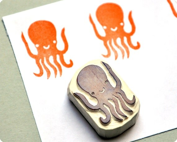 Octopus - Special Summer hand carved rubber stamps
